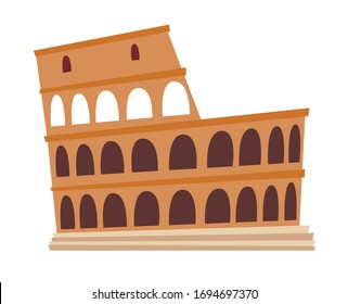 Coliseum, Italy architecture landmark vector illustration. Rome, old building. Ancient architectural monuments. Famous historical landmark. Hand drawn isolated icon on white background