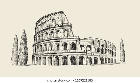 Coliseum in Italy. Hand drawn illustration. Rome. Famous historical landmark