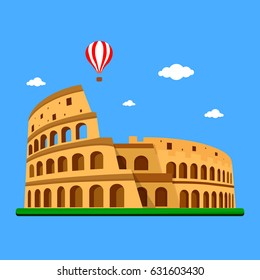 Coliseum in Italy on blue background with clouds and balloon. Vector illustration, flat design.