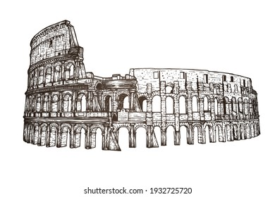 Coliseum in Italy - vector illustration - Hand drawn - Out line