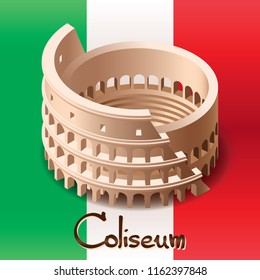 Coliseum on the Italian flag background. vector drawing isometrics