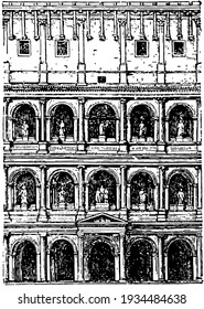 Coliseum Façade,  an oval amphitheatre, the centre of the city of Rome, the reign of Domitian,  the Flavian dynasty, vintage line drawing or engraving illustration.