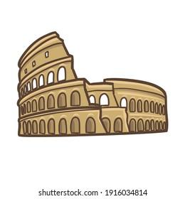 Coliseum Rome Doodle Illustration Icon. Vector Design Ancient Roman Monuments Italian Art.