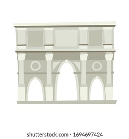 Coliseum, Rome, Italy architecture landmark vector illustration. Rome, old Italian building. Costantino Arch, Ancient architectural monuments. Famous historical landmark. Hand drawn isolated icon