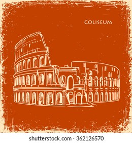 Coliseum in Rome, Italy. Colosseum hand drawn vector illustration sketch on an old paper retro texture background