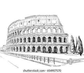 Coliseum. Rome. Italy. Hand drawn landmark sketch. Vector illustration.