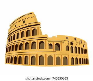 Coliseum in Rome, Italy vector. Colosseum hand drawn illustration. Symbol of Ancient Rome, gladiatorial fights