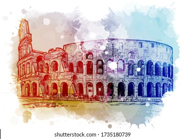 Coliseum in Rome, Italy. Vintage design. Linear sketch on a watercolor textured background. EPS10 vector illustration