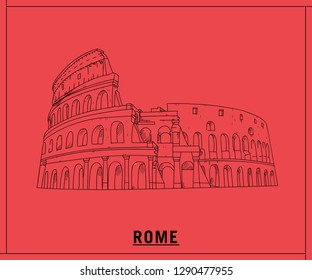 Coliseum rome.hand drawn sketch