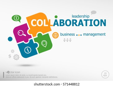 Collaboration aword cloud on colorful jigsaw puzzle. Infographic business for graphic or web design layout