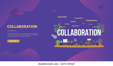 collaboration business concept with team people working together for website template landing homepage banner - vector illustration