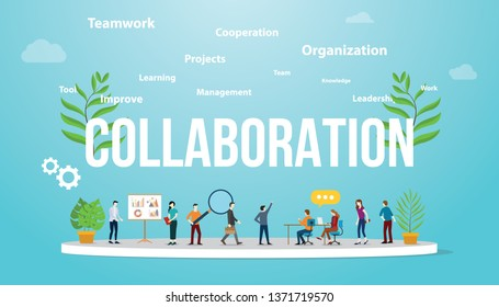 collaboration business concept with team people working together with big text and text related spread - vector illustration