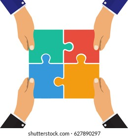 Collaboration concept. Cooperation, teamwork. Successful solution puzzle. Symbol of partnership. Vector, flat design