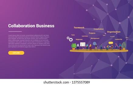 collaboration concept for website template landing homepage banner with modern purple violet background - vector illustration
