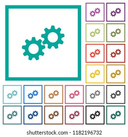Collaboration flat color icons with quadrant frames on white background