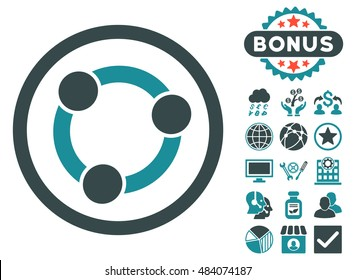 Collaboration icon with bonus design elements. Vector illustration style is flat iconic bicolor symbols, soft blue colors, white background.