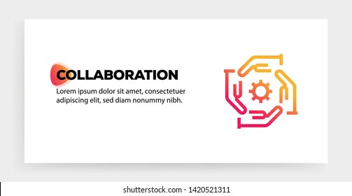 COLLABORATION ICON AND ILLUSTRATION CONCEPT