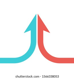 Collaboration, merger, partnership and growth concept. Arrow shaped by two turquoise blue and red parts merging isolated on white. Flat design. Vector illustration, no transparency, no gradients
