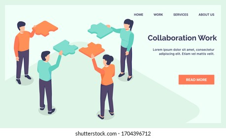 collaboration teamwork business jigsaw for website landing homepage with isometric style