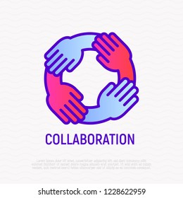 Collaboration thin line icon: four hands holding each other. Modern vector illustration of teamwork, support, partnership.