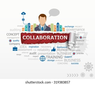 Collaboration word cloud concept and business man. Collaboration design illustration concepts for business, consulting, finance, management, career.