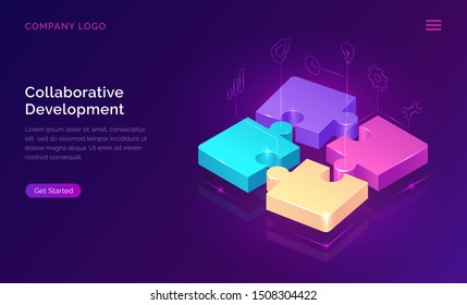 Collaborative development, isometric business concept vector. Color puzzle elements with holographic interface icons on ultraviolet background. Teamwork, cooperation, partnership and trust 3d concept