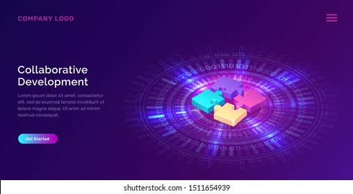 Collaborative development, isometric business concept vector. Color puzzle elements or icons on ultraviolet background with glowing blue neon ring. Teamwork, cooperation, partnership and trust concept