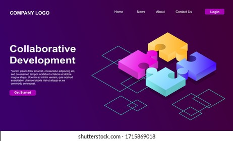 Collaborative development, isometric business concept vector. Color puzzle elements or icons on ultraviolet background. Teamwork, cooperation, partnership and trust concept EPS