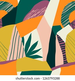 Collage abstract contemporary hawaiian seamless pattern. Modern exotic jungle fruits and plants illustration in vector.