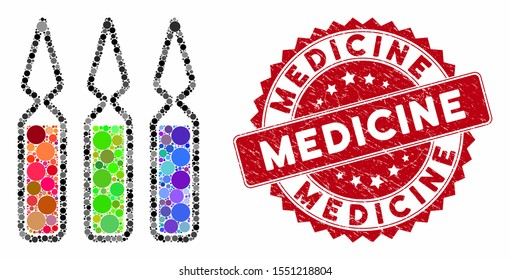 Collage ampoules and rubber stamp seal with Medicine caption. Mosaic vector is designed with ampoules icon and with random round items. Medicine seal uses red color, and rubber texture.