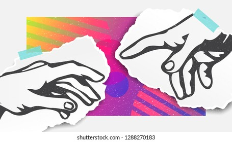 Collage Art. The touch of God. Bright colors, Modern. Stylish poster or background, trendy graphics. Vector EPS10.