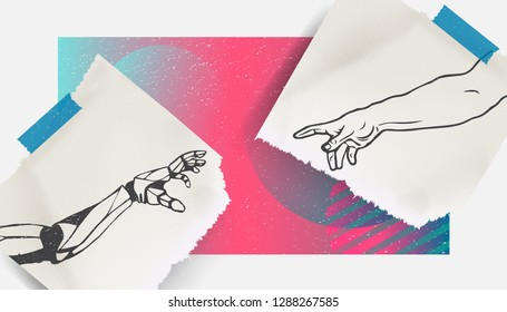Collage Art. The touch of God. Man and Robot. Bright colors, Futurism, Modern. Stylish poster or background, trendy graphics. Vector EPS10.