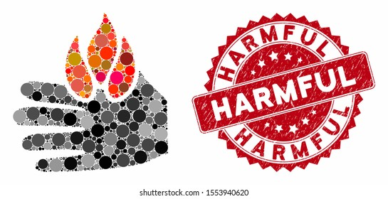 Collage burn hand and corroded stamp seal with Harmful phrase. Mosaic vector is designed with burn hand icon and with random round items. Harmful stamp seal uses red color, and grunged design.