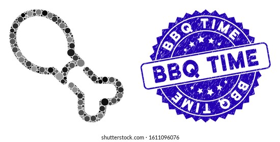 Collage chicken leg icon and rubber stamp seal with BBQ Time caption. Mosaic vector is composed with chicken leg icon and with scattered spheric spots. BBQ Time stamp seal uses blue color,