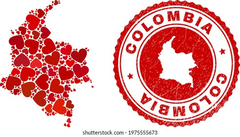 Collage Colombia map formed with red love hearts, and unclean seal stamp. Vector lovely round red rubber stamp imprint with Colombia map inside.