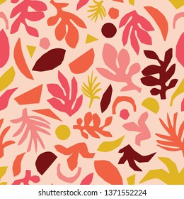 Collage contemporary floral pattern  vector. Seamless surface design