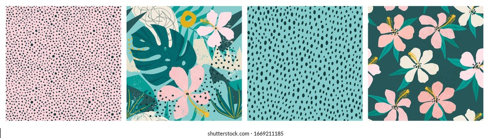 Collage contemporary floral and polka dot shapes seamless pattern set. Modern exotic design for paper, cover, fabric, interior decor and other users.