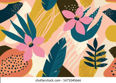 Coller le motif floral contemporain harmonieux. Illustration vectorielle des fruits et des plantes de la jungle exotique moderne.