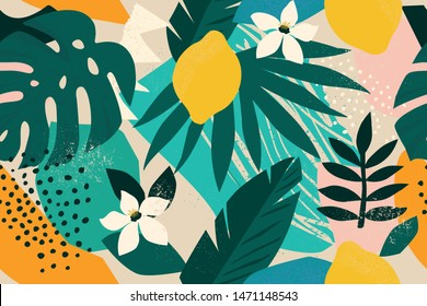 Coller le motif floral contemporain harmonieux. Illustration vectorielle de fruits et de plantes de la jungle exotique moderne.
