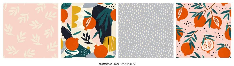 Collage de grenat contemporain, grenade floral et pois de polka façonnent un ensemble de motifs harmonieux. Design exotique moderne pour le papier, la couverture, le tissu, la décoration intérieure et d'autres utilisateurs.