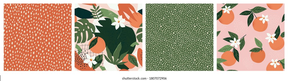 Collage contemporary orange floral and polka dot shapes seamless pattern set. Modern exotic design for paper, cover, fabric, interior decor and other users.