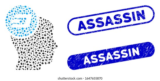 Collage Dash idea head and grunge stamp seals with Assassin phrase. Mosaic vector Dash idea head is composed with scattered oval parts. Assassin stamp seals use blue color,