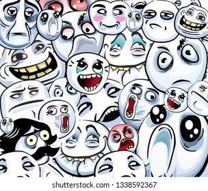 Collage of emotional stickers with internet memes for everyday expressions in social chats, messengers, media, chat, messages, mobile and web apps, internet communication and printed material