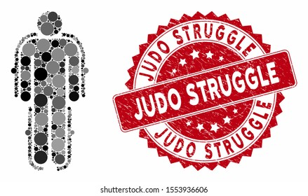 Collage exoskeleton and grunge stamp seal with Judo Struggle text. Mosaic vector is designed with exoskeleton icon and with random circle spots. Judo Struggle stamp seal uses red color,