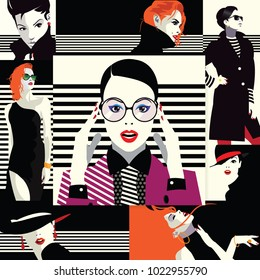 Collage of fashion girls in style pop art. Vector illustration