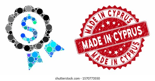 Collage featured price label and grunge stamp seal with Made in Cyprus caption. Mosaic vector is designed with featured price label icon and with random round items.