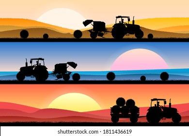 Collage of a field with wheat at different times of the day. A tractor is driving, weaving and collecting bales. Agricultural concept. Vector illustration