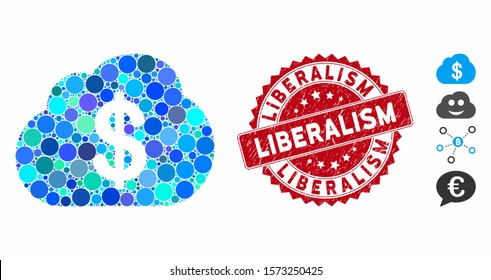 Collage financial cloud icon and grunge stamp watermark with Liberalism phrase. Mosaic vector is composed with financial cloud icon and with randomized round elements. Liberalism stamp uses red color,