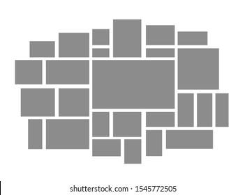 Collage frames boards mosaic. Frame photos pallet. Presentation photo. Mood board. Vector