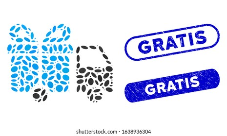 Collage gift delivery van and rubber stamp seals with Gratis text. Mosaic vector gift delivery van is formed with random ellipse parts. Gratis stamp seals use blue color,